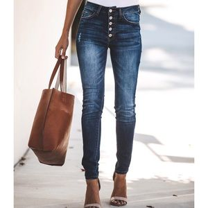 High Waisted Botton Fly Jeans